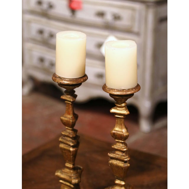 Italian 19th Century Italian Carved Giltwood Cathedral Candlesticks - a Pair For Sale - Image 3 of 9