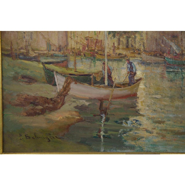 French Impressionism Antique Oil Painting of Fishing Harbor by Paul Balmigere For Sale - Image 6 of 13