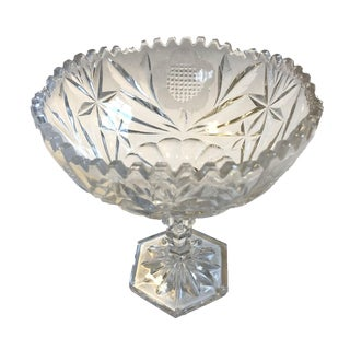 Vintage Pressed Glass Fruit and Nut Pedestal Bowl For Sale