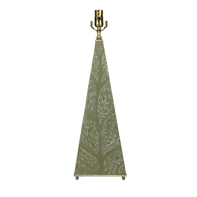 1970s French Hand Painted Leaf-Pattern Obelisk Lamp For Sale - Image 4 of 4