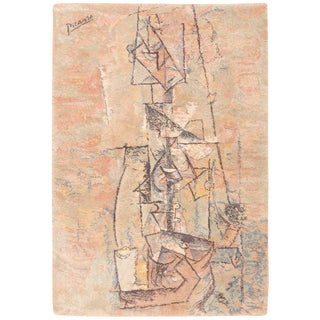 Vintage Ege Art Line Scandinavian Pablo Picasso Woman With Guitar Rug - 4′7″ × 6′7″ For Sale
