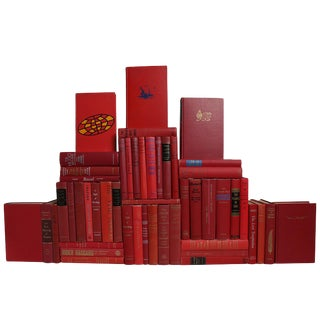 Midcentury Orchard Book Wall : Set of Fifty Decorative Books in Shades of Red For Sale