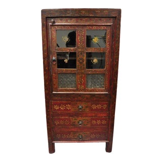 Early 20th Century Red Painted Mongolian Asian Tibetan Boho Cupboard Cabinet