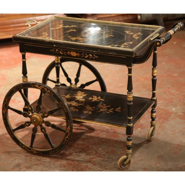 Gold Early 20th Century French Chinoiserie Hand Painted Bar Cart For Sale - Image 8 of 10
