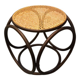 Vintage Caned Seat Rattan Ottoman
