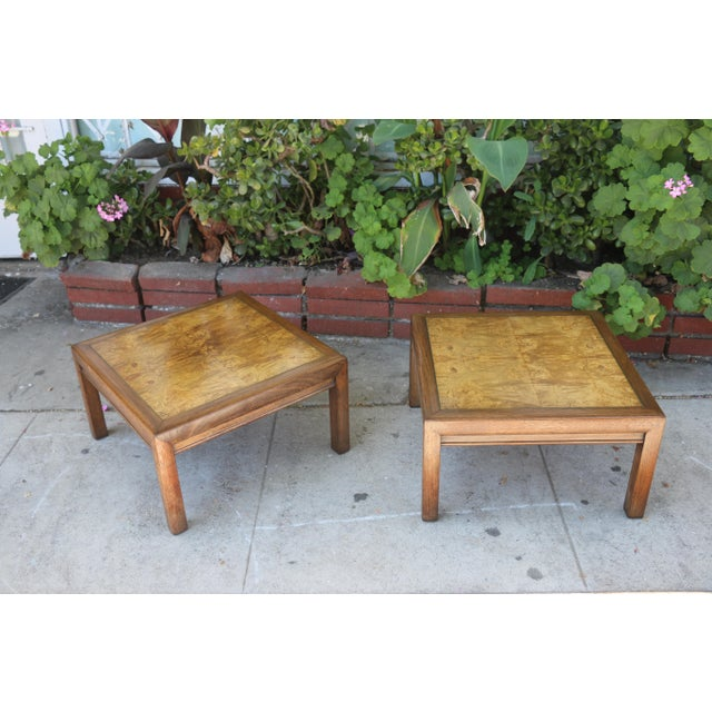 Vintage pair of low side tables in good condition. Side tables are well kept and are very sturdy.. Burlwood has great detail.