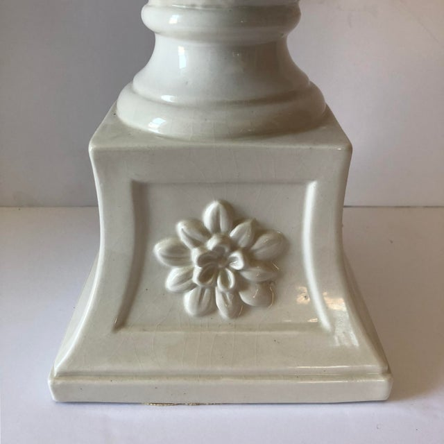 Vintage White Italian Pottery Swan Urn Centerpiece For Sale - Image 4 of 9