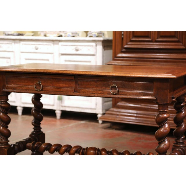19th Century French Louis XIII Carved Oak Barley Twist Table Desk For Sale - Image 4 of 13