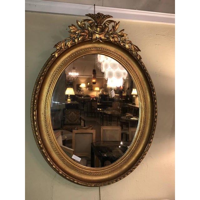 19th Century Oval Gilt Wood Mirrors - a Pair For Sale - Image 4 of 10
