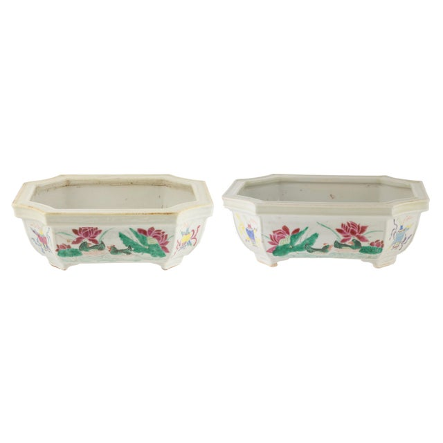 Early 19th C. Chinese Famille Rose Porcelain Bulb Planters- A Pair For Sale - Image 4 of 4