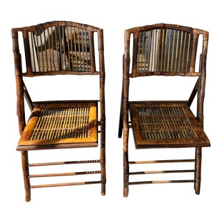 1940s Vintage Burnt Tortoise Bamboo Folding Chairs- a Pair For Sale
