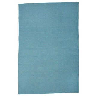 Contemporary Boho Chic Aelfie Sky Blue Solid Flatwoven Wool Rug - 4' X 6'