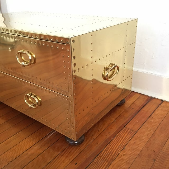 Asian Sarreid LTD Brass 2 Drawer Trunk or Coffee Table For Sale - Image 3 of 11