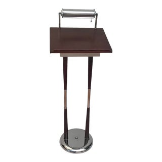 Mid-Century Modern Reception Podium Lectern Hostess Stand W/Light Storage Registration For Sale