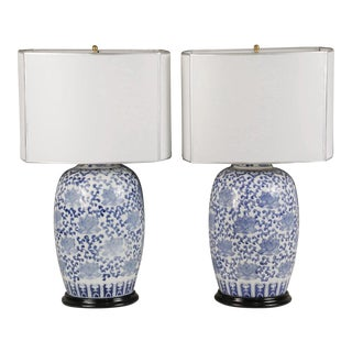 Modern Chinese Jar Blue & White Porcelain Lamps - a Pair