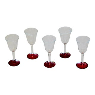 Etched Glass Ruby Footed Aperitif Glasses - Set of 5 For Sale