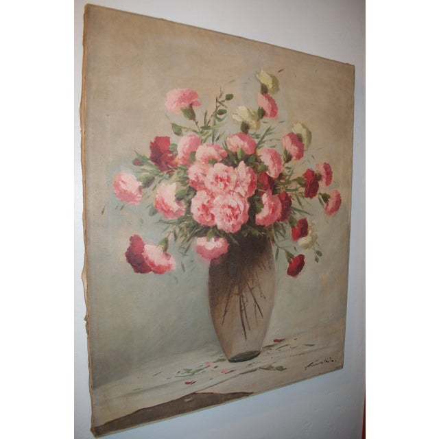 Vintage Large Carnations Floral Oil Painting - Image 4 of 8