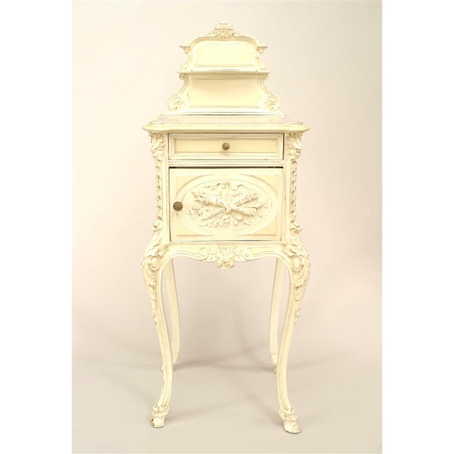 Mid 19th Century French Victorian White Bedside Commode For Sale - Image 5 of 5