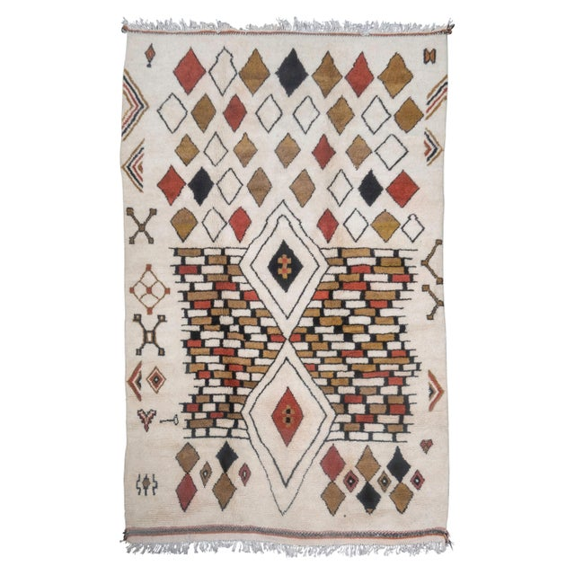 Textile Moroccan Handwoven Rug Made with Natural Vegetable Dye and Wool For Sale - Image 7 of 7