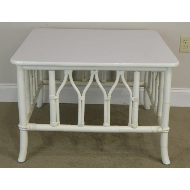 Ficks Reed Ficks Reed White Painted Square Rattan Coffee Table For Sale - Image 4 of 13