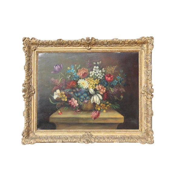 Early 20th C. Dutch Italian Floral Painting For Sale