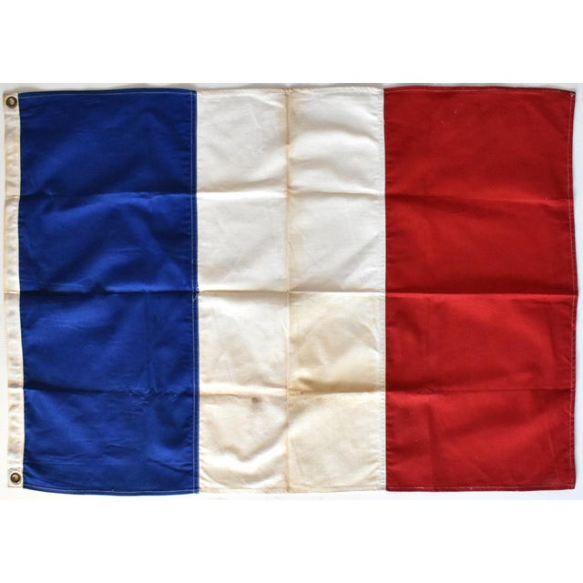 Metal Vintage Hand-Sewn French Tricolore Flag For Sale - Image 7 of 7