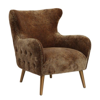 Wing Back Leopard Lounge Chair For Sale
