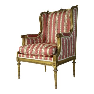 French Carved Gilt Louis XVI Bergere Chair c 1880 For Sale