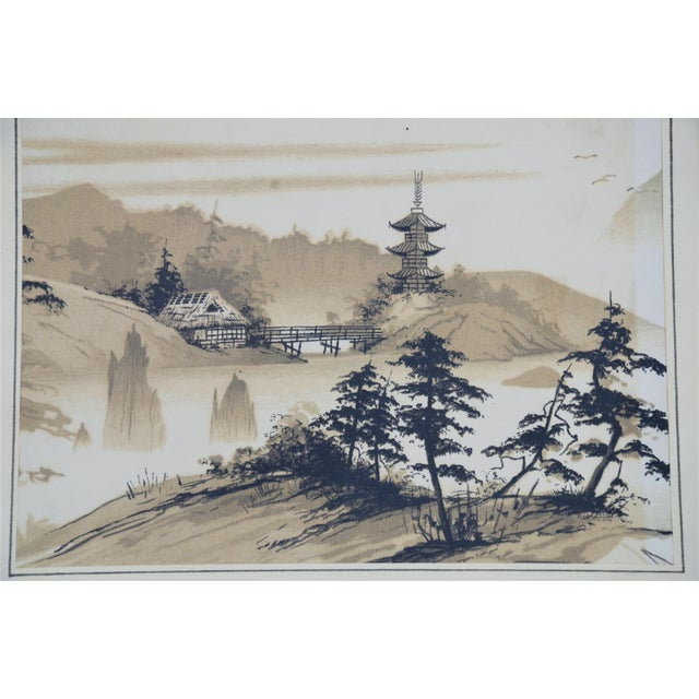 Shabby Chic Vintage Mid-Century James Bunnell Chinoiserie Ink Prints - A Pair For Sale - Image 3 of 13