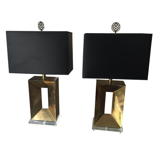 Brass & Lucite Table Lamps - A Pair - Image 1 of 11