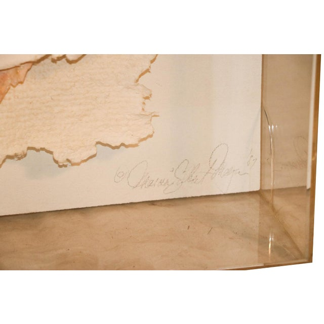 Versace Inspired Marcia Mazur-Gold and Ross Mazur Mid Century Handmade Paper Sculpture Painting For Sale - Image 5 of 11