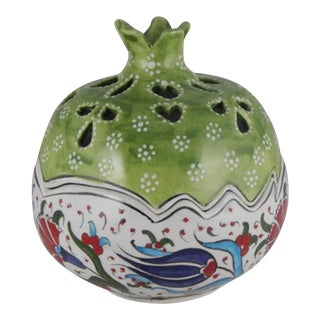 Handmade Turkish Ceramic Decorative Pomegranate Bowl, Hand Painted Boho Style Home Decor For Sale