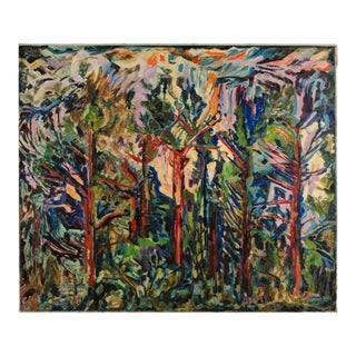 "Mid 20th Century ""Abendsonne"" Expressionist Style Landscape Oil Painting by Elisabeth Merlicek For Sale"