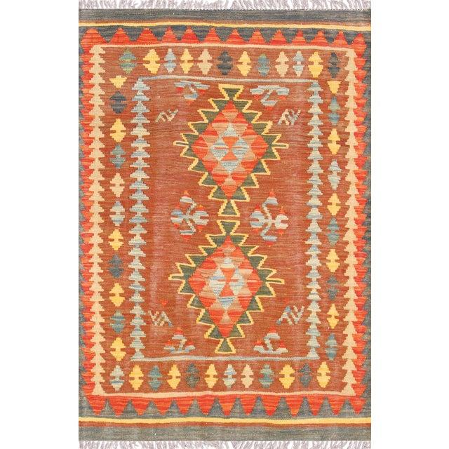 Orange and Brown Vintage Turkish Anatolian Kilim - Image 1 of 3