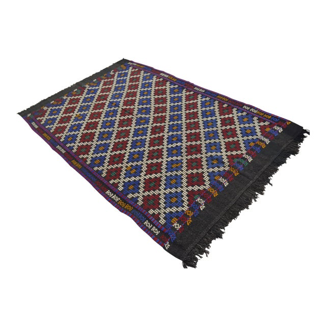 """Hand-Woven Rug Kilim Braided Nomadic Rug - 5' X 8'4"""" For Sale"""