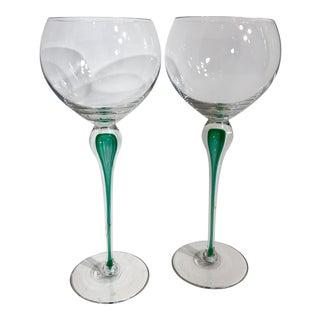 Contemporary Hand Blown Tall Green Mikasa Julliard Emerald Tear Drop Tall Balloon Wine Glasses - a Pair For Sale