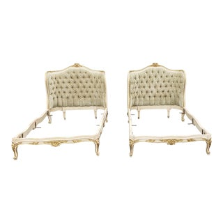 Pair Antique French Louis XV Style Gilt Painted Tufted Upholstered Twin Beds C1900 For Sale