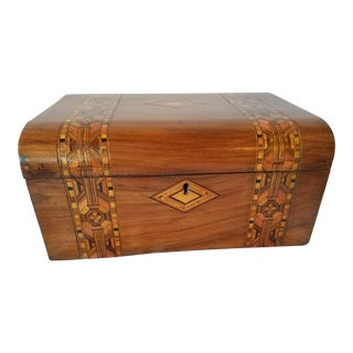 Antique Marquetry Box With Marbled Paper For Sale