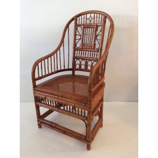 1980s Vintage Boho Chic Bamboo Barrel Back Chair Preview