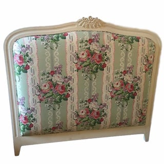 White & Floral Full-Size Headboard For Sale