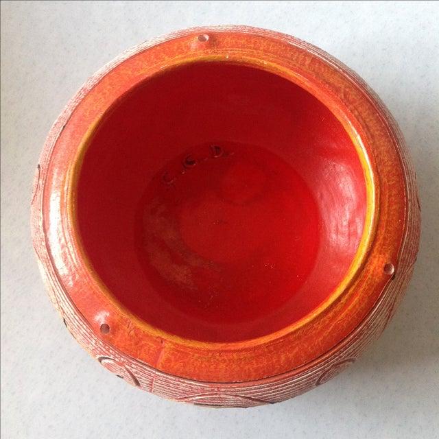 Orange Vintage Orange Ceramic Hanging Planter For Sale - Image 8 of 9