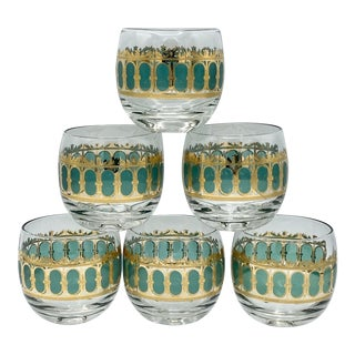 Mid-Century Culver Emerald Scroll Roly Poly Glasses - Set of 6 For Sale