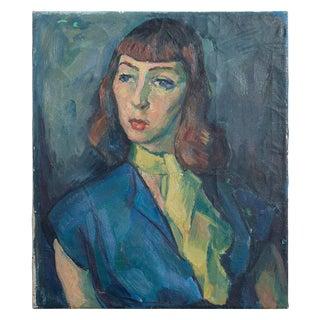 Original 1960s Vintage Portrait Woman With a Yellow Necktie Oil Painting For Sale