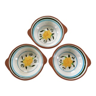 1950s Stangl Pottery Daffodil Flower Handled Bowls - Set of 3 For Sale