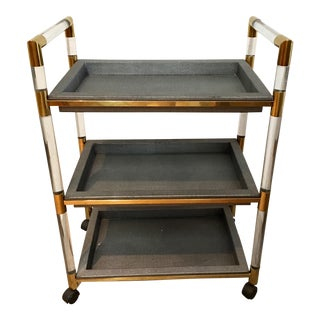 Shagreen & Lucite Bar Cart