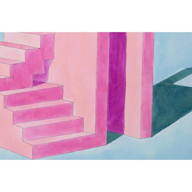2020s 2020 Ryan Rivadeneyra,Pink Building on Blue Watercolor on Paper - Pastel Palette Architecture For Sale - Image 5 of 8