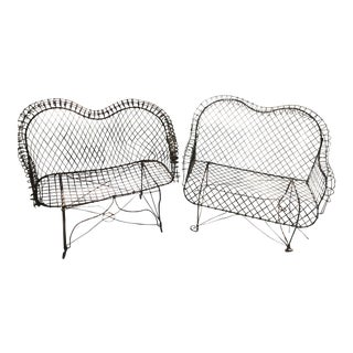 Vintage Wire Garden Settees- A Pair