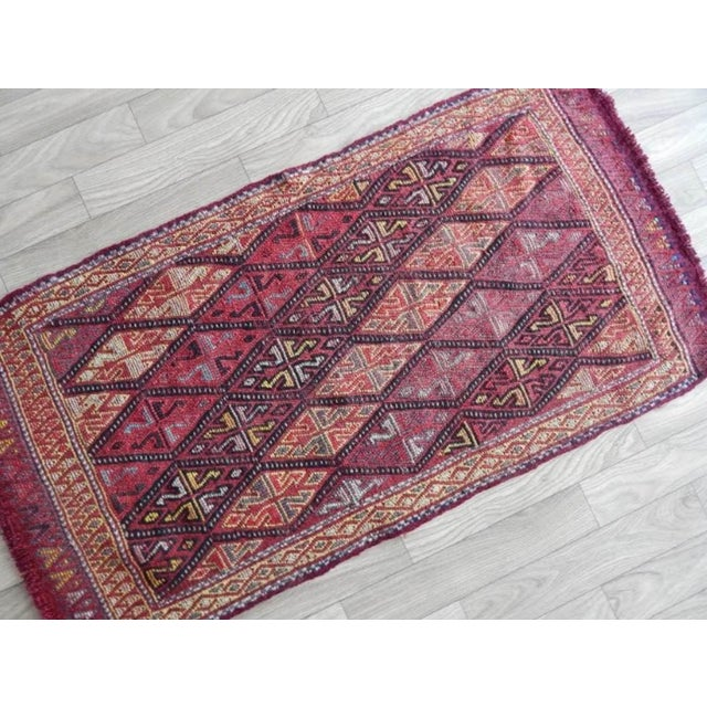 Masterwork Hand-Woven Rug Braided Small Kilim 1′6″ × 2′12″ For Sale - Image 4 of 8