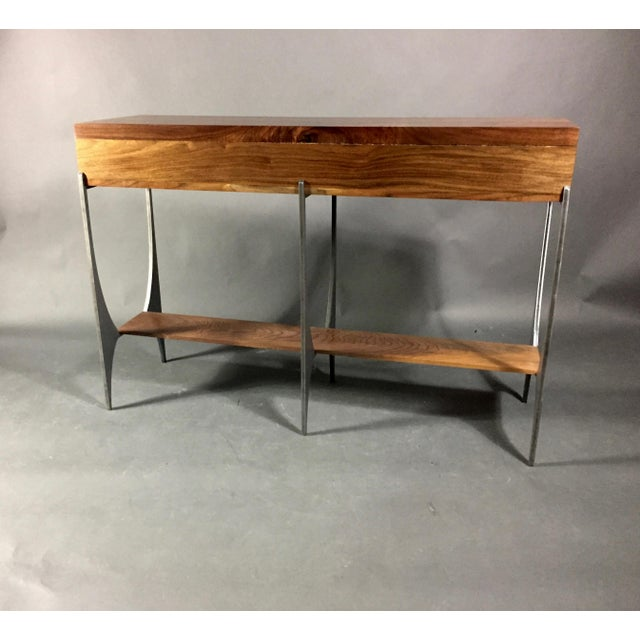 Richard Vellosso Walnut & Steel Console Table, Usa For Sale - Image 9 of 13