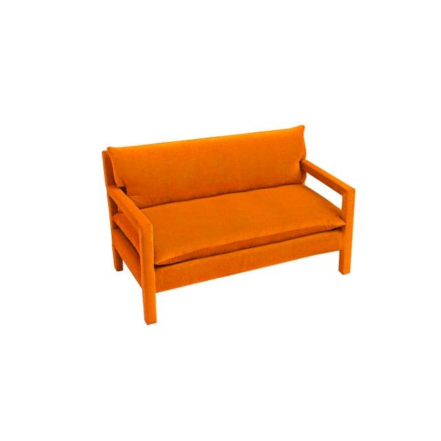 Milo Baughman Style Parsons Sofa Reupholstered in Orange Velvet For Sale In Dallas - Image 6 of 6